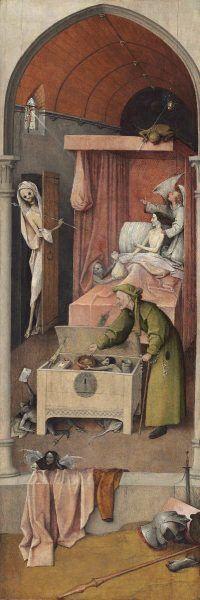 Hieronymus Bosch, Tod und der Geizhals, Öl auf Holz, 94.3 x 32.4 cm (Washington, D.C., National Gallery of Art, Samuel H. Kress Collection)