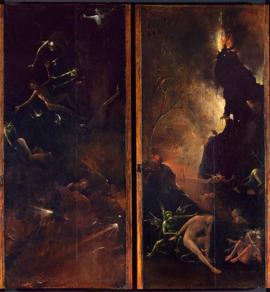 Hieronymus Bosch, Visionen des Jenseits: Hölle, 1505–15, 88.8 x 39.6 cm (Gallerie dell'Accademia, Venedig)