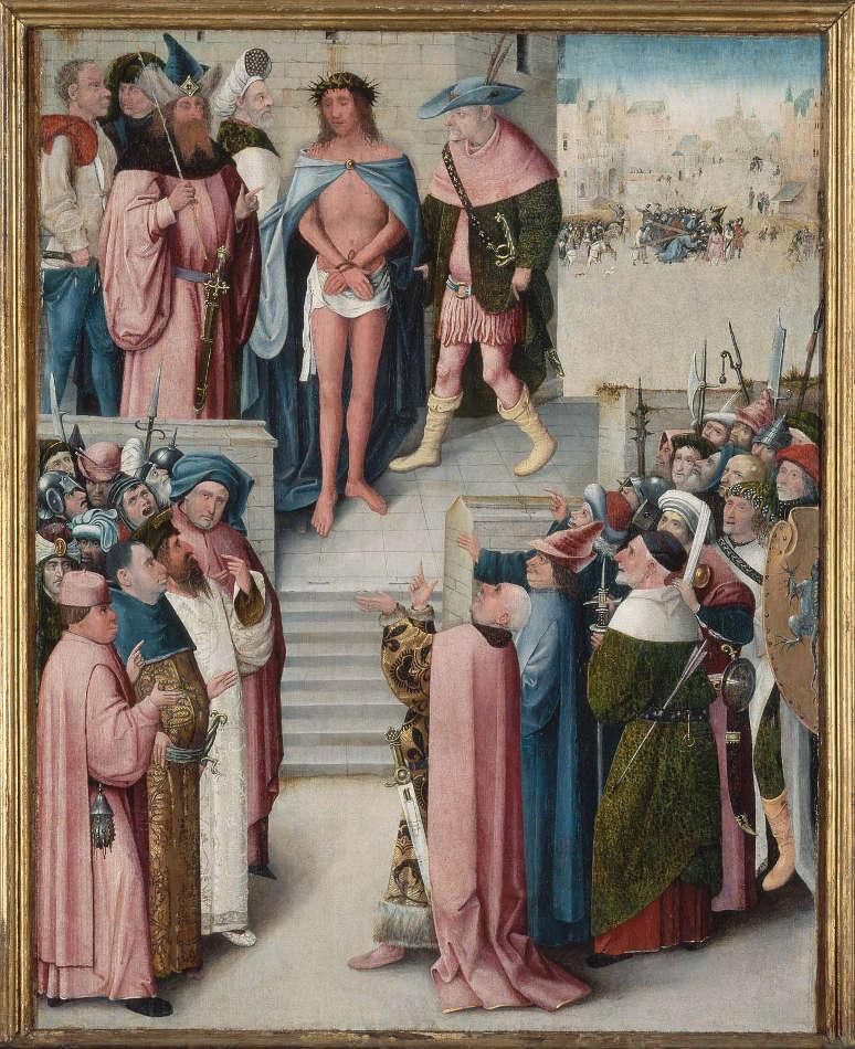 Hieronymus Bosch- Werkstatt, Ecce Homo, 1496–1500, Öl auf Holz, 73 x 57.2 cm (Museum of Fine Arts, William K. Richardson Fund, William Francis Warden Fund, and Juliana Cheney Edwards Collection, Boston, Inv.-Nr. 53.2027)