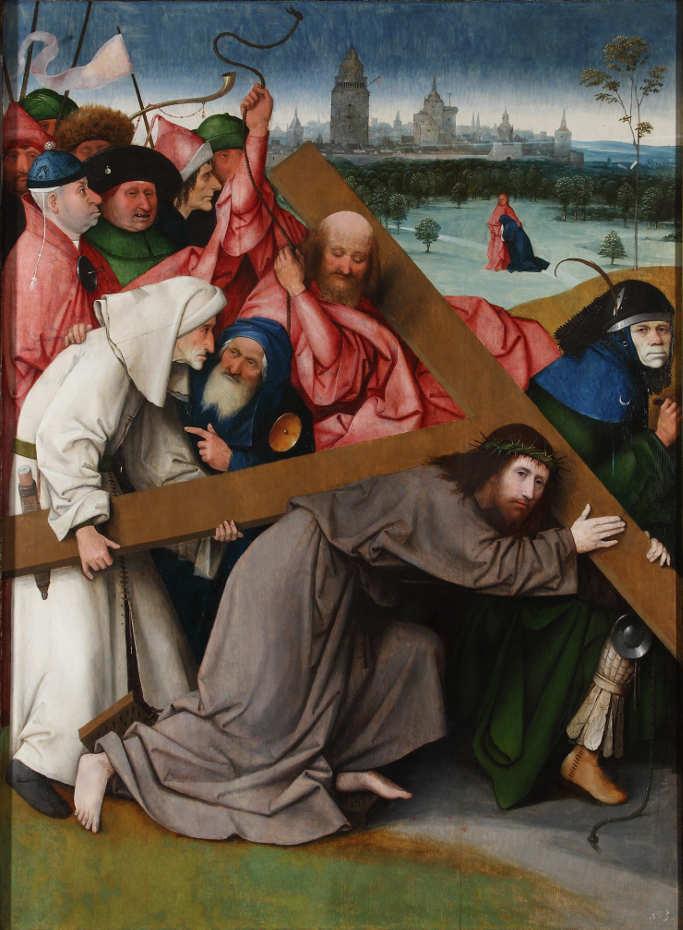 Hieronymus Bosch, Kreuztragung, um 1500, Öl auf Holz, 142.3 x 104.5 cm (Colecciones Reales. Patrimonio Nacional, Real Monasterio de San Lorenzo del Escorial)