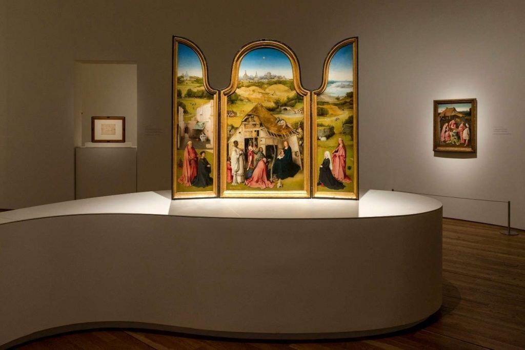 Hieronymus Bosch, Die Anbetung der hl. drei Könige, Triptychon, um 1494, in der Ausstellung Hieronymus Bosch im Prado