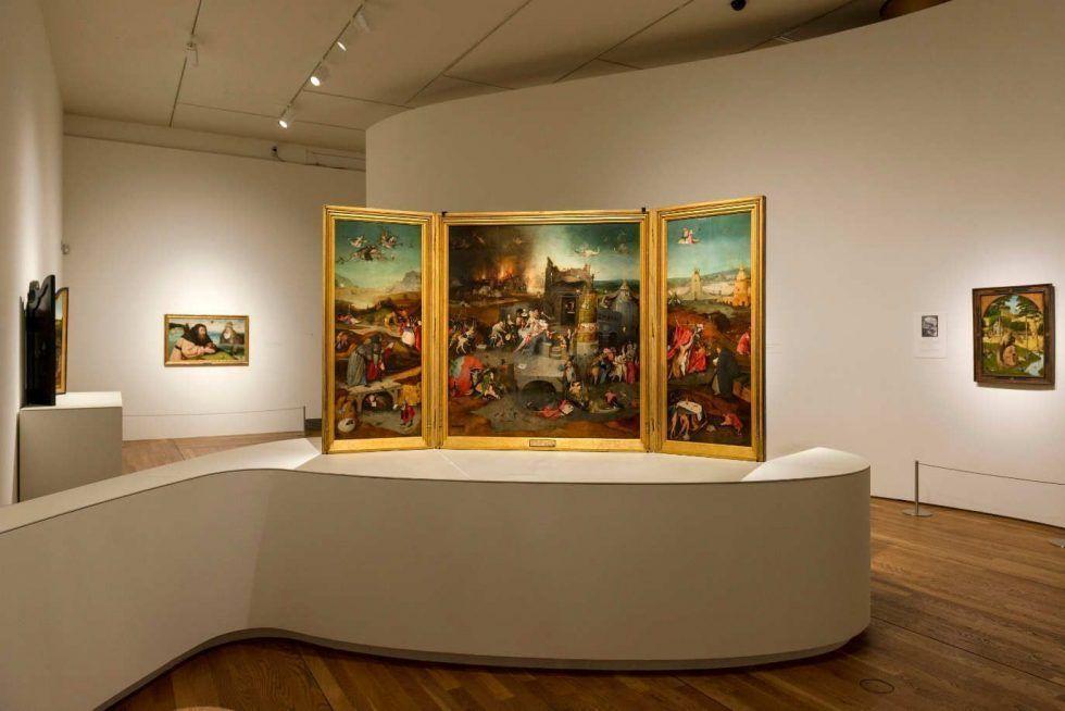 Hieronymus Bosch, Die Versuchung des hl. Antonius, Triptychon, um 1500–1505, Öl auf Holz, 131.5 x 111.9 cm (Mitteltafel); 131.5 x 53 cm (linke und rechte Tafel) (Museu Nacional de Arte Antiga, Lissabon)