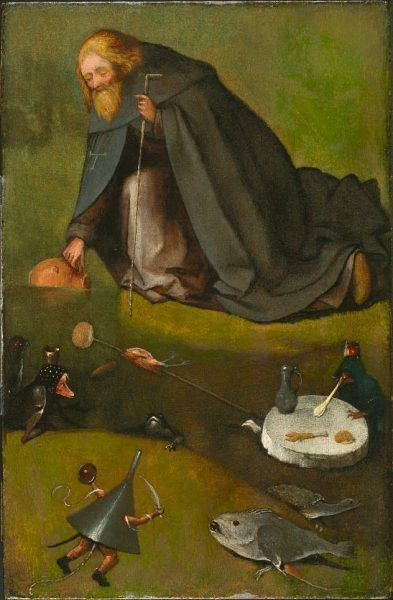 Hieronymus Bosch, Die Versuchung des hl. Antonius, um 1500–1510, Öl auf Holz, 38.6 x 25.1 cm (The Nelson-Atkins Museum of Art, Purchase: William Rockhill Nelson Trust, Kansas City, Inv.-Nr. 35-22)