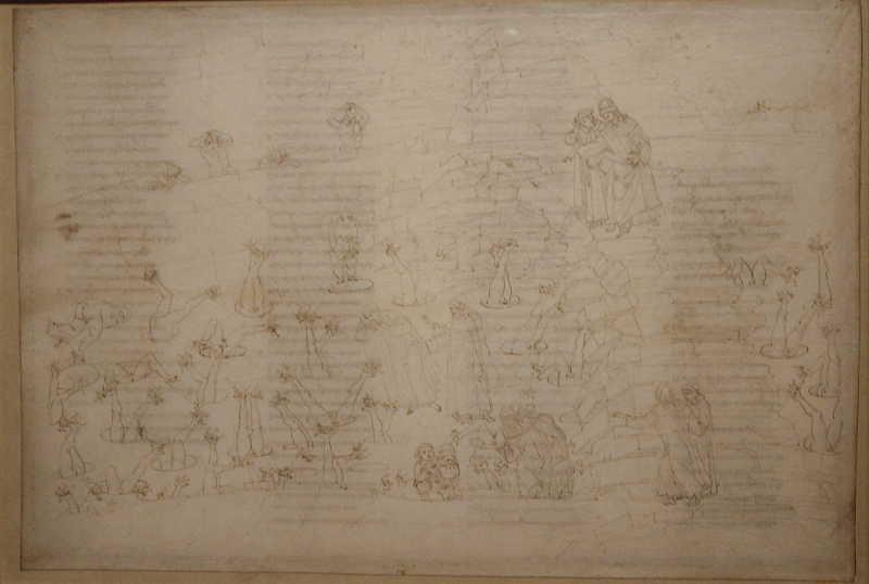 Sandro Botticelli, Illustrationen zu Dante Alighieris Divina Commedia, um 1480 - um 1500, Inferno XXXIII (in Eis eingefroren, Ugolino da Gherardesca knabbert am Kopf seines Betrügers), Detail (Kupferstichkabinett, Berlin), Foto: Alexandra Matzner.