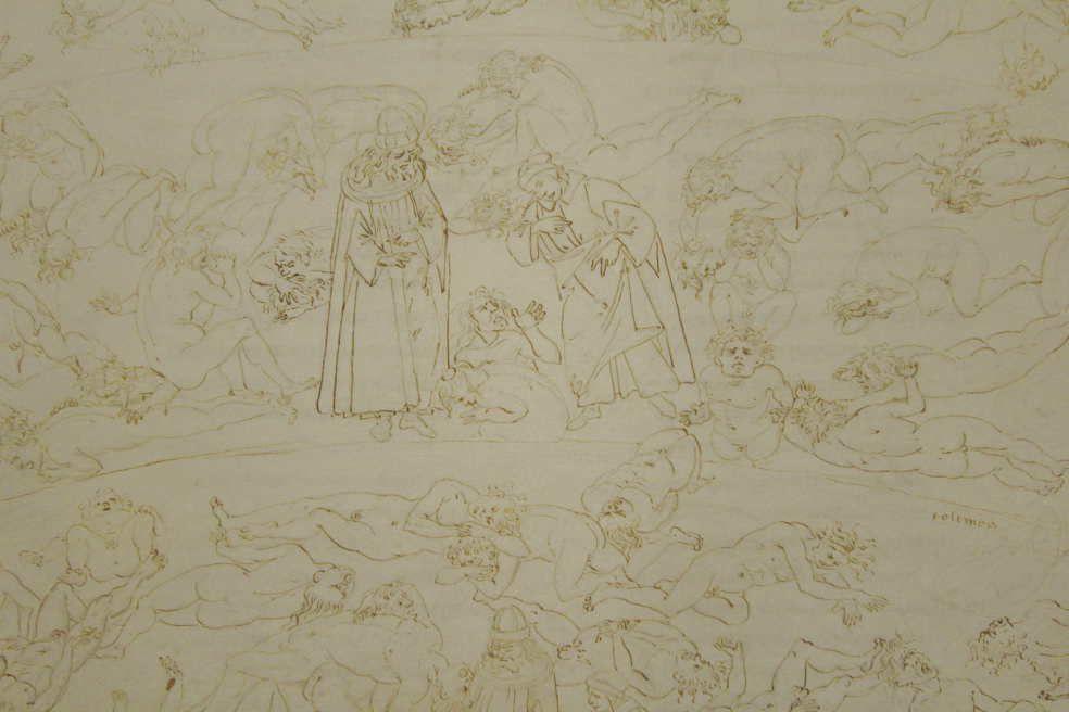 Sandro Botticelli, Illustrationen zu Dante Alighieris Divina Commedia, um 1480 - um 1500, Inferno XXXIII (Kupferstichkabinett, Berlin), Foto: Alexandra Matzner.