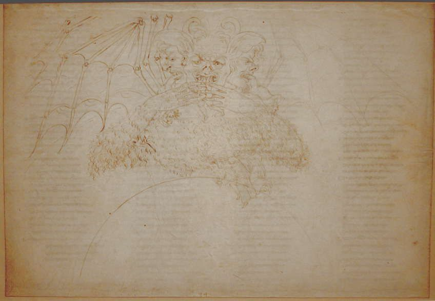 Sandro Botticelli, Illustrationen zu Dante Alighieris Divina Commedia, um 1480 - um 1500, Inferno XXXIV,1 (Luzifer) (Kupferstichkabinett, Berlin), Foto: Alexandra Matzner.
