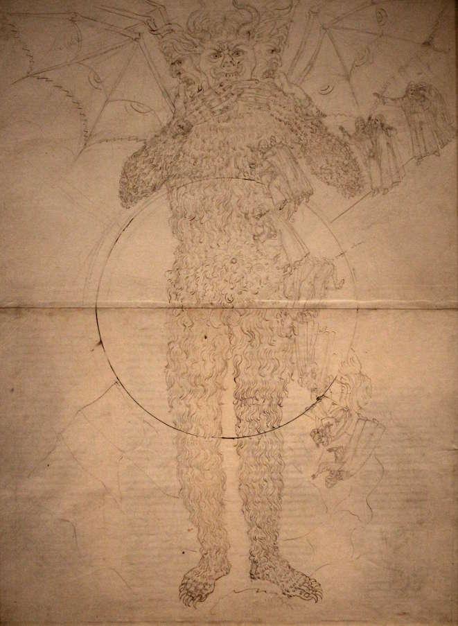 Sandro Botticelli, Illustrationen zu Dante Alighieris Divina Commedia, um 1480 - um 1500, Inferno XXXIV (Luzifer) (Kupferstichkabinett, Berlin), Foto: Alexandra Matzner.