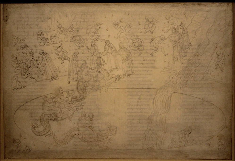 Sandro Botticelli, Illustrationen zu Dante Alighieris, Divina Commedia, um 1480 - um 1500, Inferno XVII (Wucherer, Geryon) (Kupferstichkabinett, Berlin)
