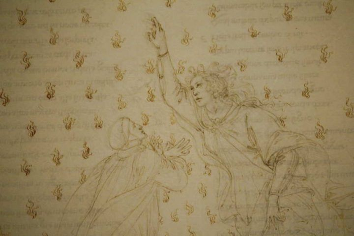 Sandro Botticelli, Illustrationen zu Dante Alighieris Divina Commedia, um 1480 - um 1500, Paradiso VI, Detail (Dante und Betrice) (Kupferstichkabinett, Berlin), Foto: Alexandra Matzner.