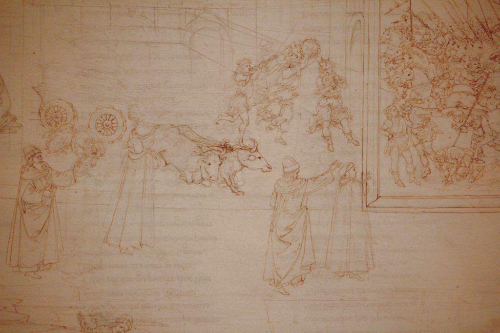 Sandro Botticelli, Illustrationen zu Dante Alighieris Divina Commedia, um 1480 - um 1500, Purgatorio X: David vor der Bundeslade (Marmorreliefs, Bestrafung der Stolzen) (Kupferstichkabinett, Berlin), Foto: Alexandra Matzner.