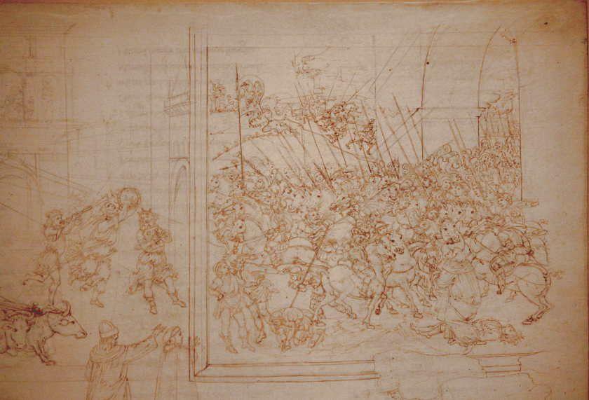 Sandro Botticelli, Illustrationen zu Dante Alighieris, Divina Commedia, um 1480 - um 1500, Purgatorio X: Großmut des Trajan (Marmorreliefs, Bestrafung der Stolzen) (Kupferstichkabinett, Berlin), Foto: Alexandra Matzner.