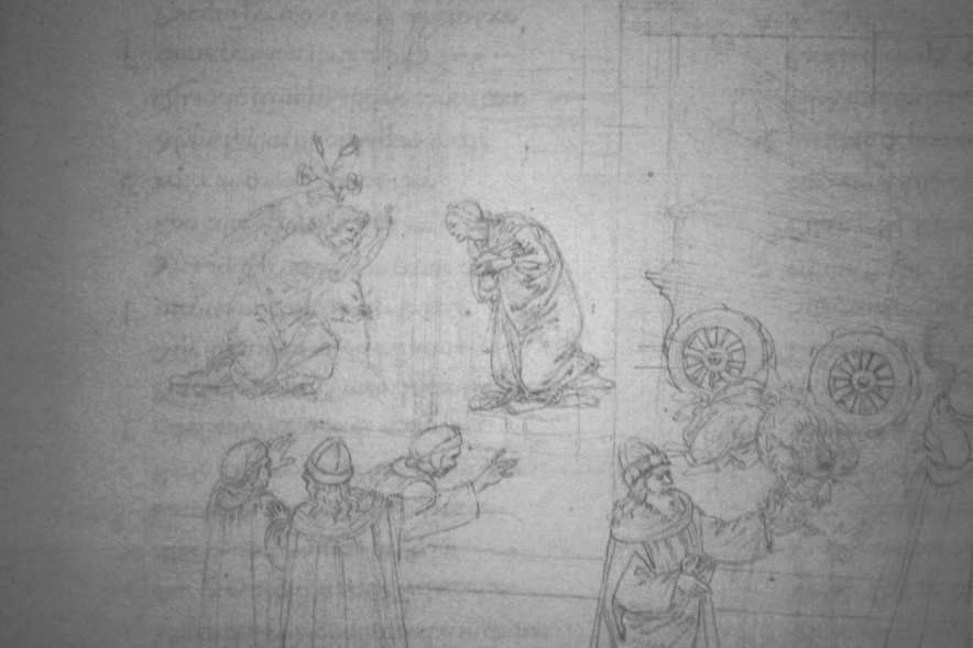 Sandro Botticelli, Illustrationen zu Dante Alighieris Divina Commedia, um 1480-um 1500, Purgatorio X: Verkündigung (Marmorreliefs, Bestrafung der Stolzen) (Kupferstichkabinett, Berlin), Foto: Alexandra Matzner.