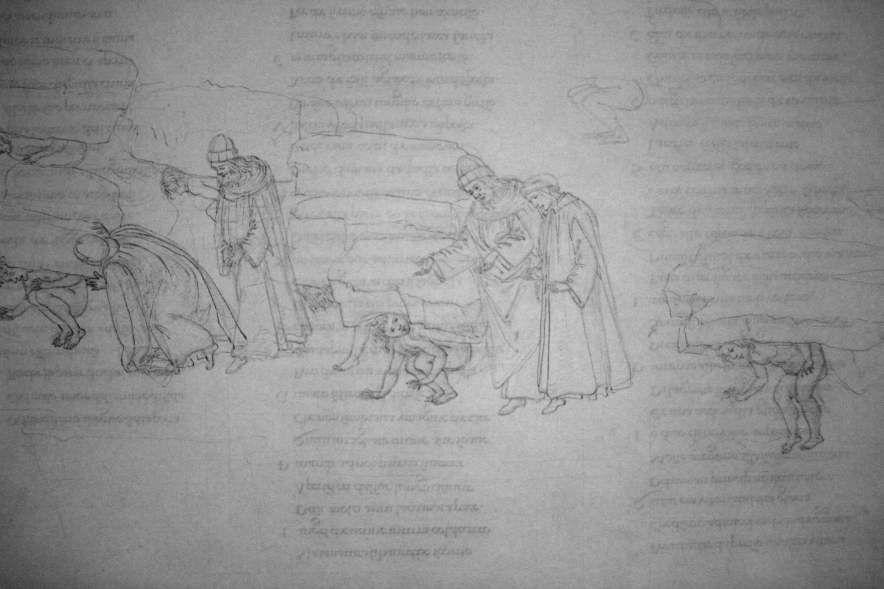 Sandro Botticelli, Illustrationen zu Dante Alighieris Divina Commedia, um 1480 - um 1500, Purgatorio XI (Bestrafung der nach Ruhm suchenden Ritter und Künstler) (Kupferstichkabinett, Berlin), Foto: Alexandra Matzner.