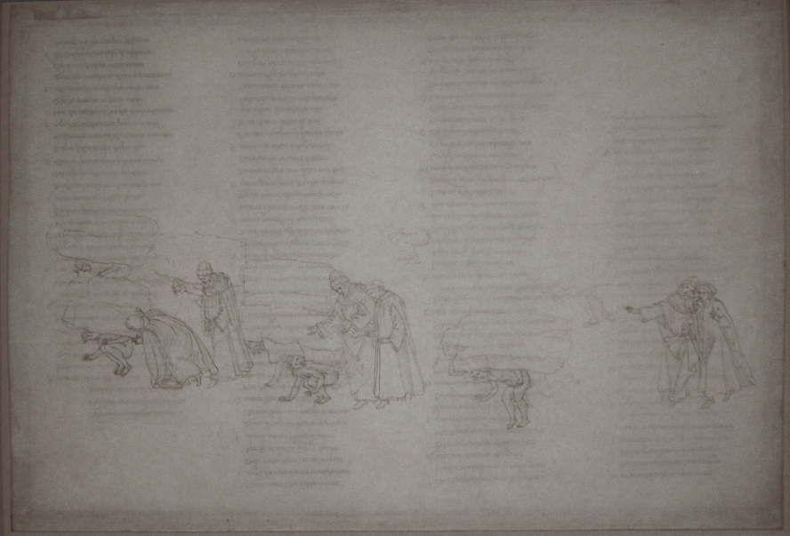 Botticelli, Illustrationen zu Dante Alighieris Divina Commedia, um 1480 – um 1500, Purgatorio XI (Bestrafung der ruhmsüchitgen Ritter und Künstler) (Kupferstichkabinett, Berlin), Foto: Alexandra Matzner.