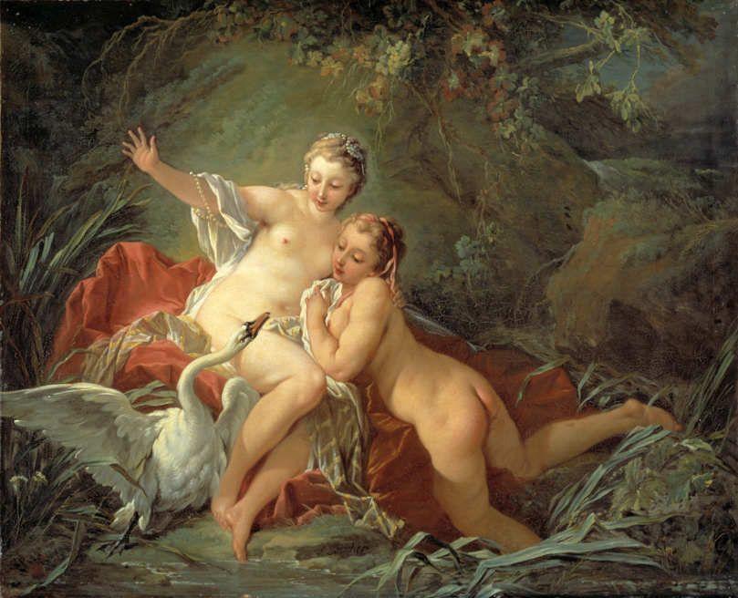 François Boucher (1703–1770), Leda und der Schwan (Léda et le Cygne), 1742, Öl auf Leinwand, 59,5 × 74 cm (Nationalmuseum, Stockholm) © Nationalmuseum, Stockholm