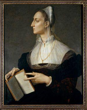 Bronzino, Porträt der Laura Battiferri, um 1555-1560, 83 x 60 cm. Firenze, Musei Civici Fiorentini, Museo di Palazzo Vecchio, Donazione Loeser, inv. MCF-LOE 1933-17.