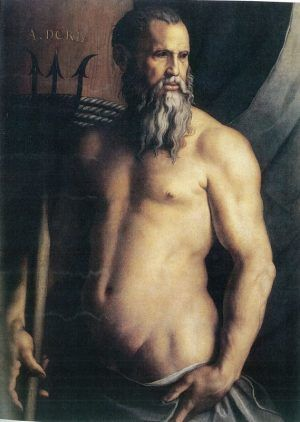 Bronzino, Porträt von Andrea Doria als Neptun, um 1545-1546, 115 x 53 cm. Milano, Pinacoteca di Brera, Reg. Cron. 1206.