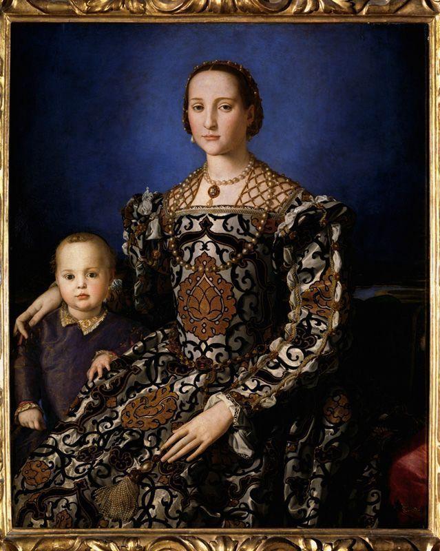 Bronzino (Agnolo di Cosimo; Monticelli, Firenze 1503-Firenze 1572) Ritratto di Eleonora di Toledo col figlio Giovanni, 1545, olio su tavola; cm 115 x 96. Firenze, Galleria degli Uffizi, inv. 1890 n. 748.