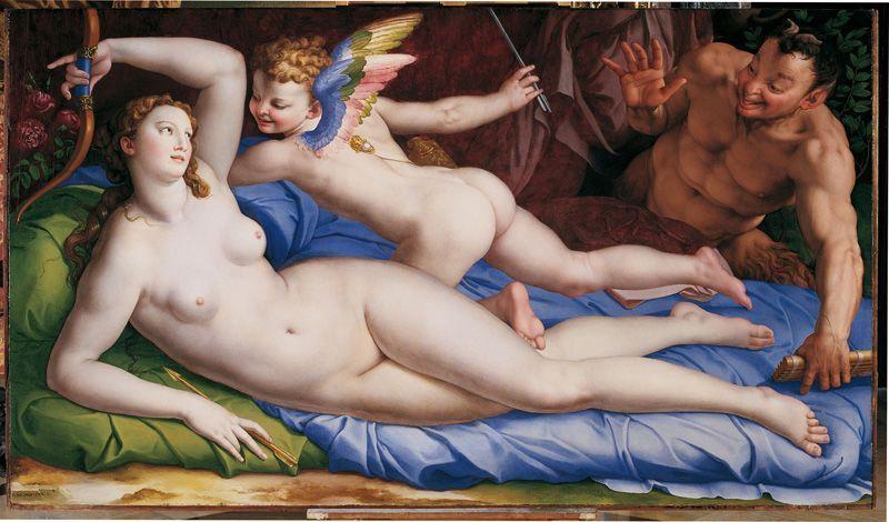 Bronzino , Venus, Amor und Satyr, um 1553-1555, 135 x 231 cm, Roma, Galleria Colonna, Inv. Salviati 1756, n. 66.