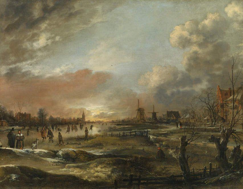Aert van der Neer (1603–1677), Große Winterlandschaft mit Eisvergnügen bei Sonnenuntergang, Öl auf Leinwand; 98 x 126,5 cm, Hohenbuchau Collection, Inv.-Nr. HB 43.