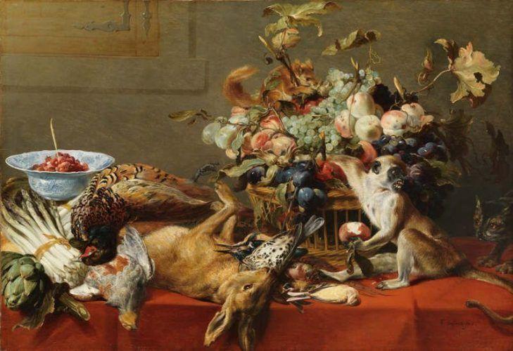 Frans Snyders (1579–1657), Stillleben mit Früchten, Wild und Gemüse sowie ein lebender Affe, ein Eichhörnchen und eine Katze, um 1635-40, Öl auf Leinwand; 81 x 118 cm, Sign. unten rechts: F. Snyders fecit, Hohenbuchau Collection, Inv.-Nr. HB 87.