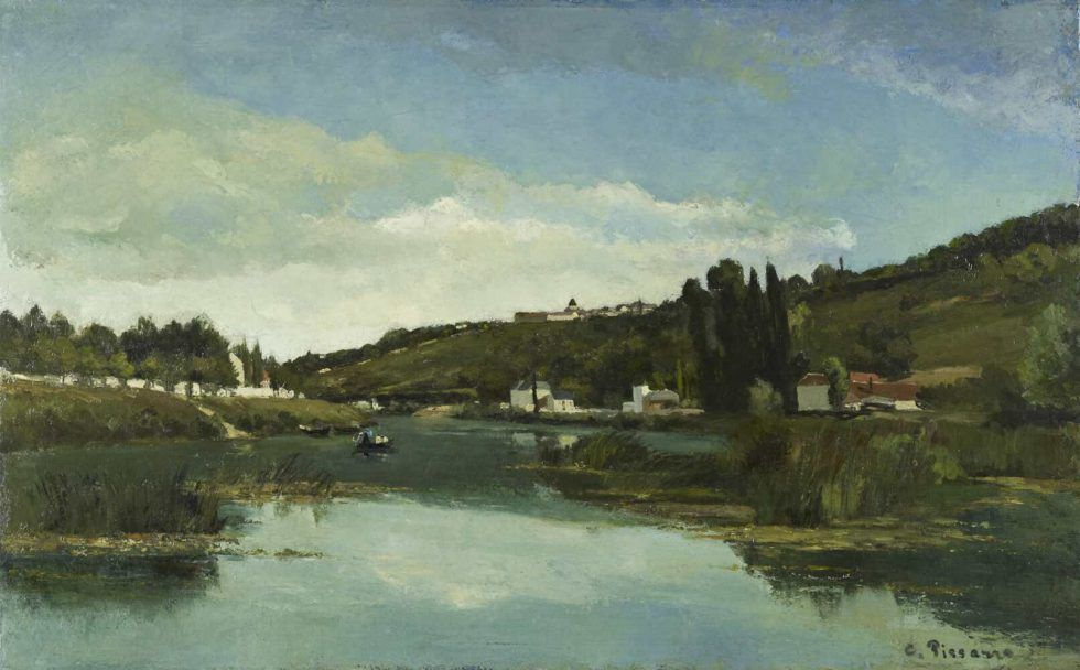 Camille Pissarro, Die Marne bei Chennevières, 1864/65, Öl auf Leinwand, 91.5 x 145.5 cm (National Galleries of Scotland, purchased 1947, Edinburgh)