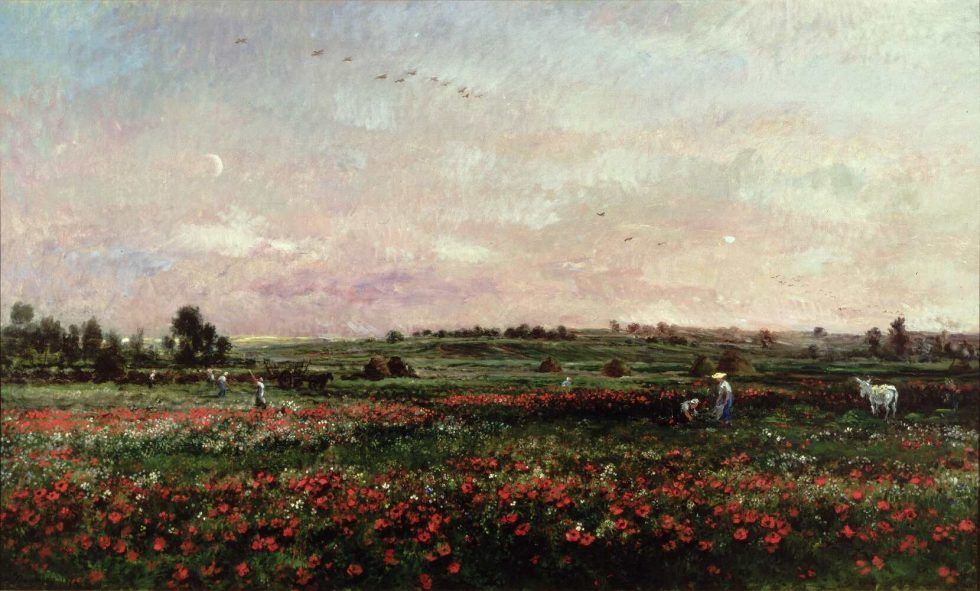 Charles-François Daubigny, Felder im Monat Juni, 1874, Öl auf Leinwand, 135 x 224 cm (Johnson Museum of Art, Cornell University, Ithaca, NY, gift of Mr. and Mrs. Louis V. Keeler, Class of 1911)