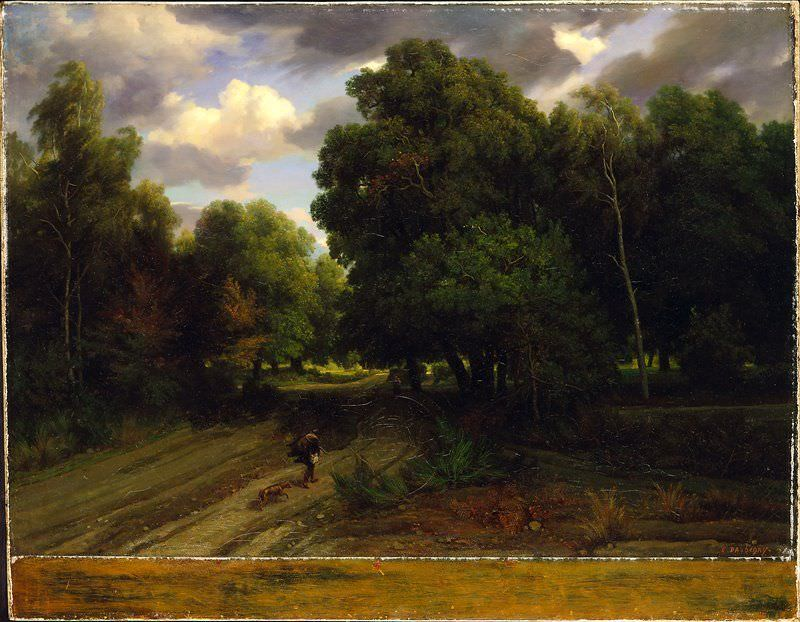 Charles-François Daubigny, Die Kreuzung am Adlerhorst, Wald von Fontainebleau, 1843/44, Öl auf Leinwand, 89.54 × 116.21 cm (Minneapolis Institute of Art, Gift of Ruth and Bruce Dayton, Inv.-Nr. 91.148.5)