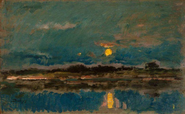 Charles-François Daubigny, Landschaft in Mondlicht, um 1875, Öl auf Holz, 35 x 57.3 cm (Hannema-de Stuers Foundation, Heino/Niederlande)