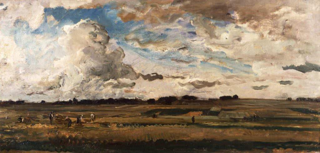 Charles-François Daubigny, Landschaft mit Mähern, 1875, Öl auf Leinwand, 43.5 x 89 cm (Stedelijke Museum, Gouda, Niederlande)