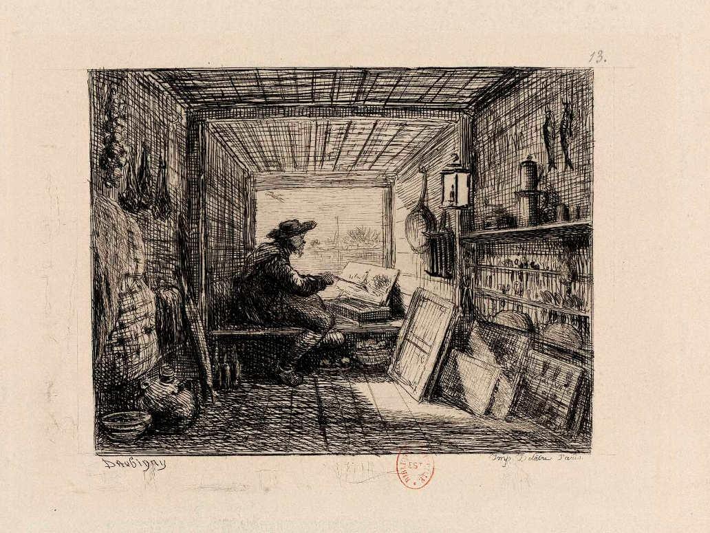 Charles-François Daubigny, Le Bateau Atelier (Das Atelier-Boot, aus: Le Voyage en bateau), 1862, Radierung, 10 × 13 cm (British Museum, London)