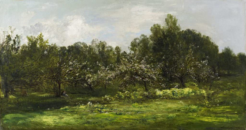 Charles-François Daubigny, Obstgarten in Blüte, 1874, Öl auf Leinwand, 85 x 157 cm (National Galleries of Scotland, Edinburgh)