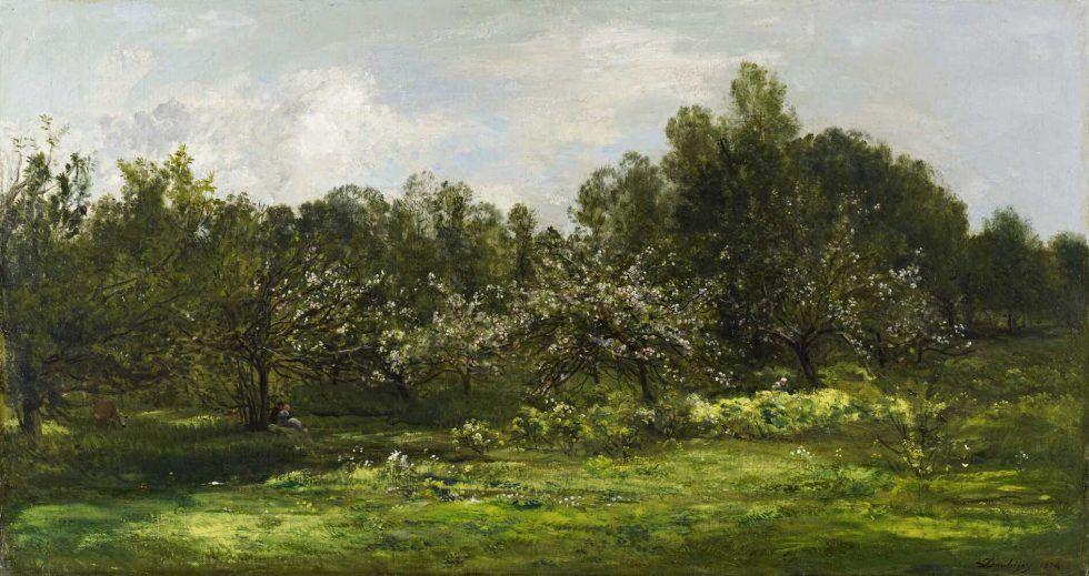 Charles-François Daubigny, Obstgarten in Blüte, 1874, Öl auf Leinwand, 85 x 157 cm (National Galleries of Scotland, Edinburgh)