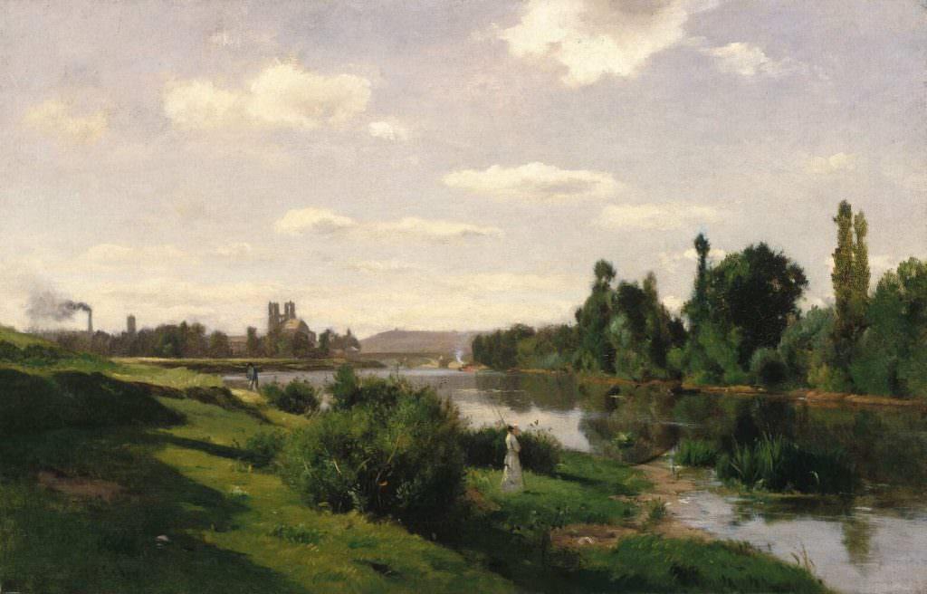 Charles-François Daubigny, Die Seine bei Mantes, um 1856, Öl auf Leinwand, 48.4 × 75.6 cm (Brooklyn Museum, New York, gift of Cornelia E. and Jennie A. Donnellon)