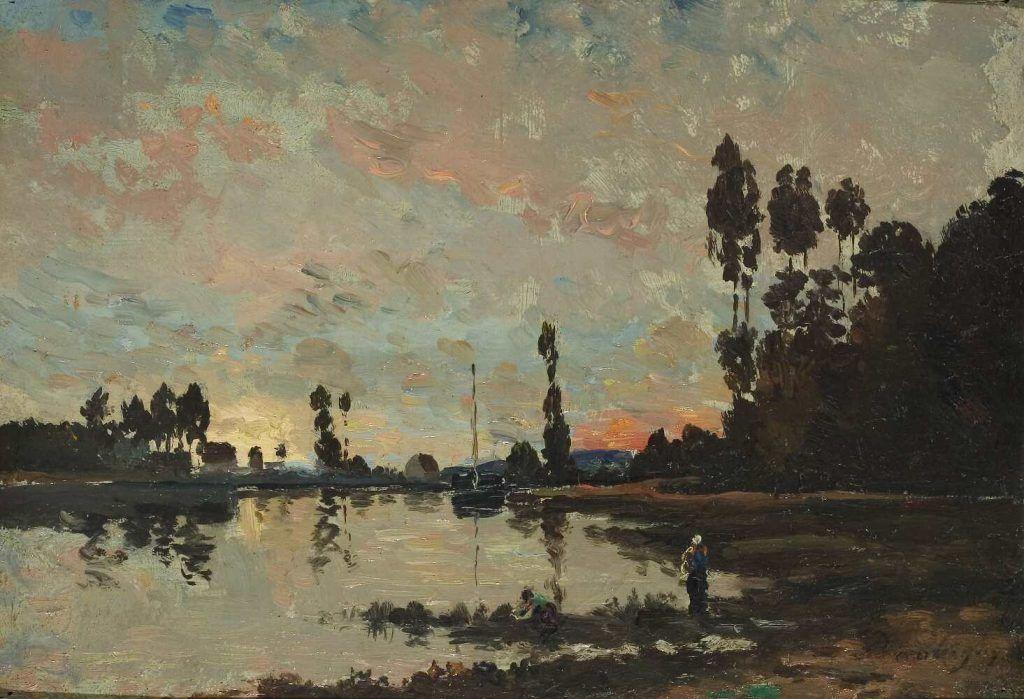 Charles-François Daubigny, Soleil couchant sur l'Oise [Sonnenuntergang über der Oise], um 1865, Öl auf Holz, 23 x 33 cm (Musée des Beaux-Arts, Dijon)