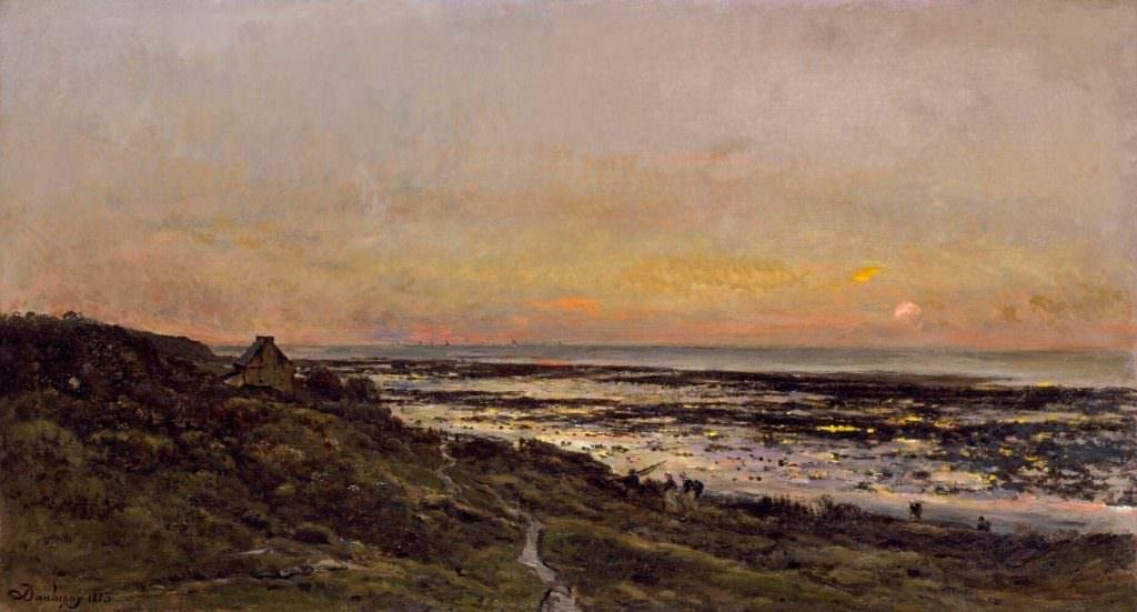Charles-François Daubigny, Der Strand bei Villerville zu Sonnenuntergang, 1873, Öl auf Leinwand, 76.8 × 141 cm (Chrysler Museum of Art, Norfolk, Virginia, gift of Walter P. Chrysler, Jr.)