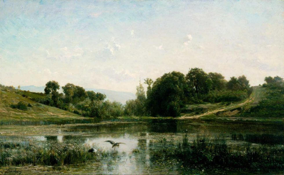 Charles-François Daubigny, Der Teich in Gylieu, 1853, Öl auf Leinwand, 62.2 × 99.7 cm (Cincinnati Art Museum, gift of Emilie L. Heine in memory of Mr and Mrs John Hauck, 1940.969)
