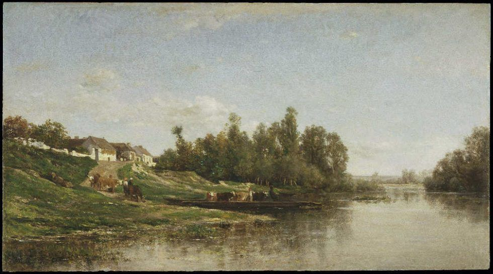 Charles-François Daubigny, Flussszene, 1859, Öl auf Holz, 36.2 x 65.4 cm (Brooklyn Museum, Bequest of William H. Herriman, 21.134)
