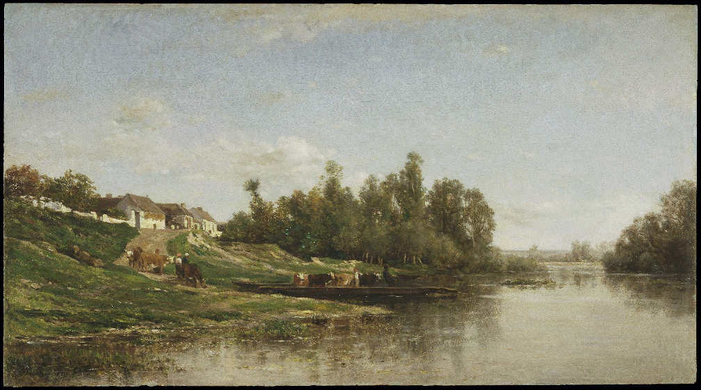 Charles-François Daubigny, Flussszene, 1859, Öl auf Holz, 36.2 x 65.4 cm (Brooklyn Museum, Bequest of William H. Herriman, 21.134)