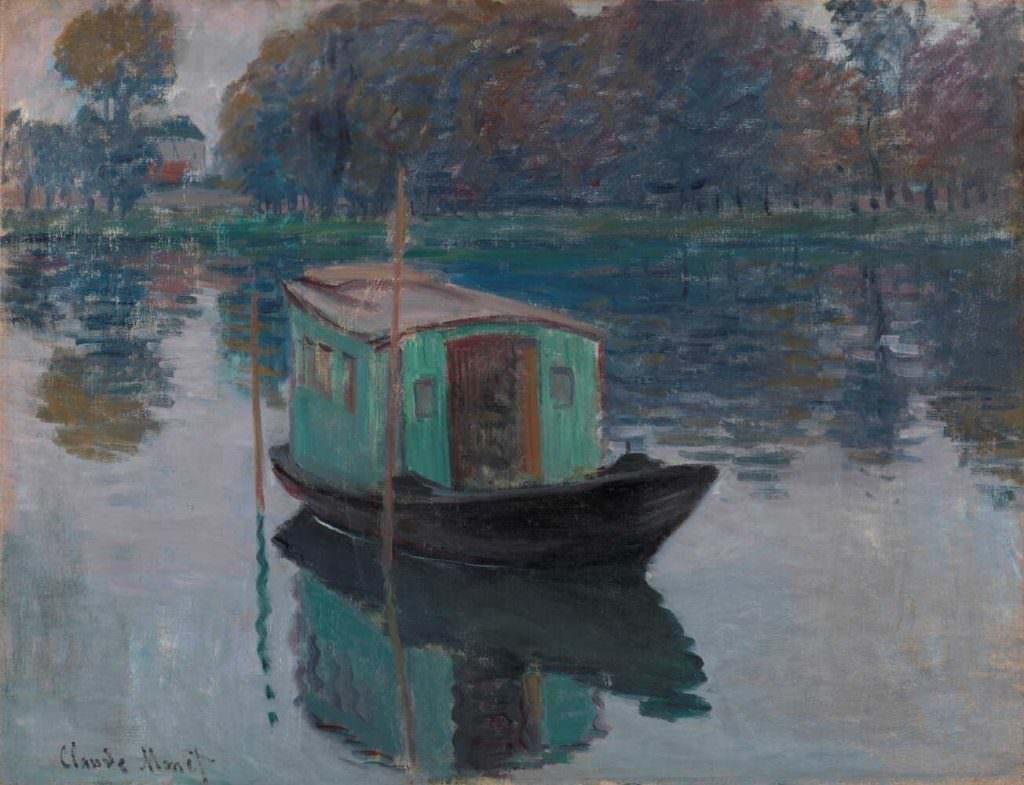 Claude Monet, Das Atelier-Boot, 1874, Öl auf Leinwand, 50 x 64 cm (Otterlo, Kröller-Müller Museum)