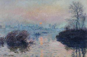 Claude Monet, Sonnenuntergang an der Seine bei Lavacourt, Wintereffekt, 1880, Öl auf Leinwand, 100 × 150 cm (Petit Palais, Musée des Beaux-Arts de la Ville de Paris, Paris)