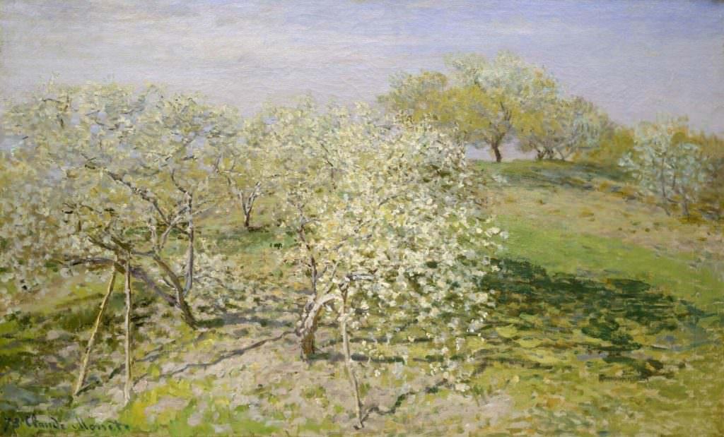 Claude Monet, Frühling (Blühende Obstbäume), 1873, Öl auf Leinwand, 62.2 x 100.6 cm (New York, Metropolitan Museum of Art)
