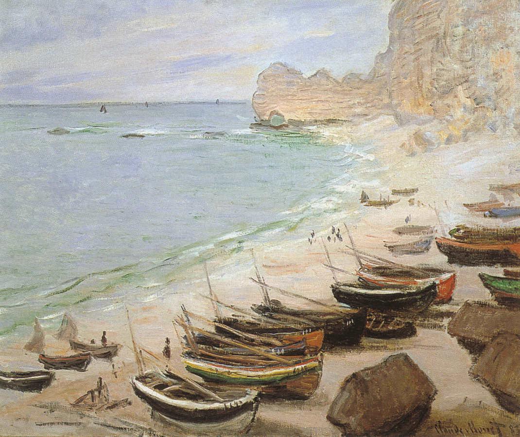 Claude Monet, Boote am Strand von Etretat (Bateaux à Etretat), 1883, Öl auf Leinwand, 65 x 81 cm (Fondation Bemberg, Toulouse, Frankreich)