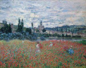 Claude Monet, Champ de coquelicots près de Vétheuil [Mohnblumenfeld bei Vétheuil], um 1879, Öl auf Leinwand, 73 x 92 cm (Stiftung Sammlung E.G. Bührle, Zürich)