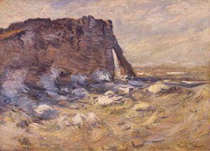Claude Monet, Das Kliff und die Porte d'Aval, raue See, 1883 (Museu de Montserrat. Donación Xavier Busquets)