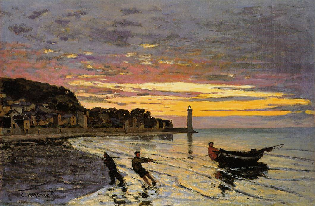 Claude Monet, Ein Boot einholen, Honfleur, 1864, Öl auf Leinwand, 55,2 x 82,1 cm (Memorial Art Gallery of the University of Rochester)