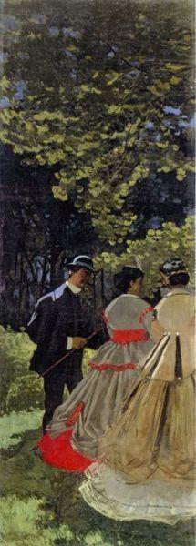 Claude Monet, Déjeuner sur l'herbe [Frühstück im Grünen], linkes Fragment, 1865, Öl auf Leinwand, 418 x 150 cm (Musée d'Orsay, Paris)