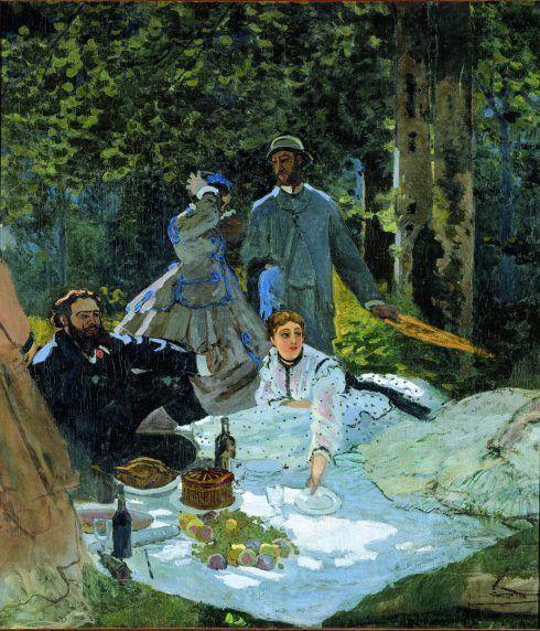 Claude Monet, Déjeuner sur l'herbe [Frühstück im Grünen], rechtes Fragment, 1865, Öl auf Leinwand, (Musée d'Orsay, Paris)