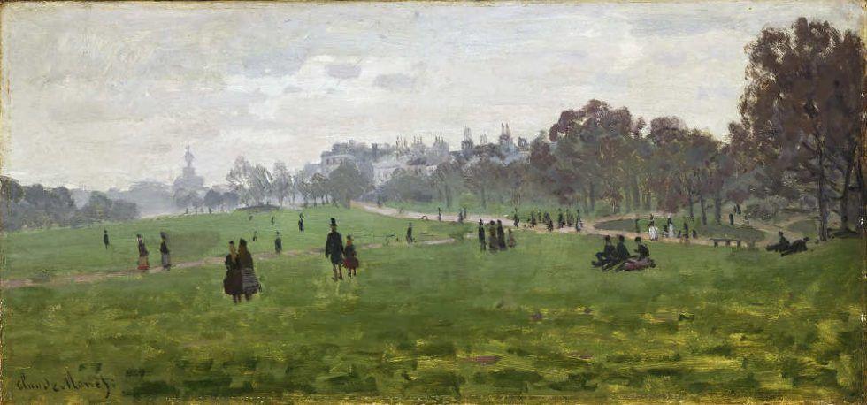 Claude Monet, Green Park, London, 1870/71, Öl auf Leinwand, 34,3 x 72,5 cm (Philadelphia Museum of Art)