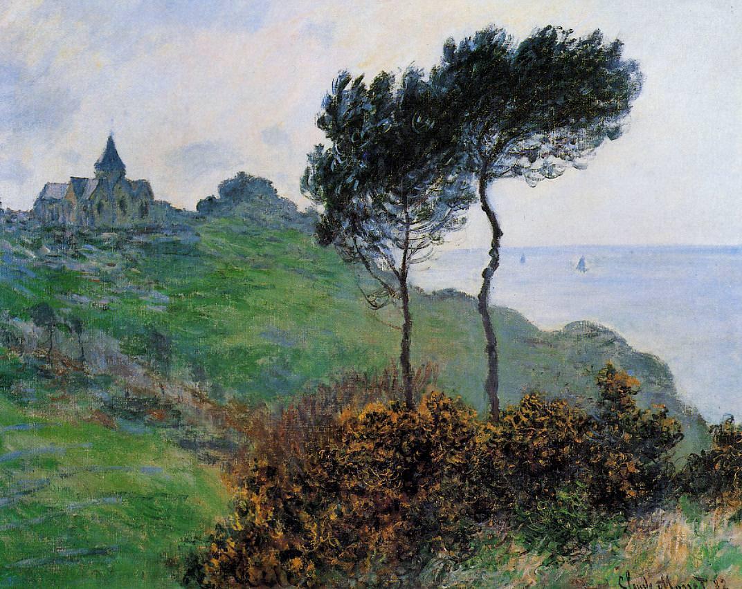 Claude Monet, Kirche von Varengaville, graues Wetter, 1882 (Speed Art Museum, Louisville)
